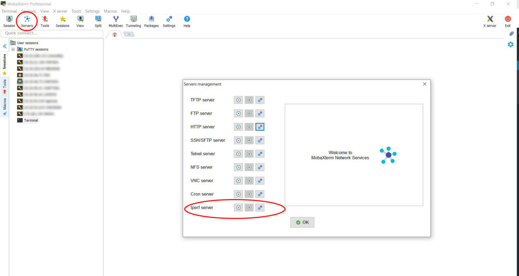 Servers management window MobaXterm